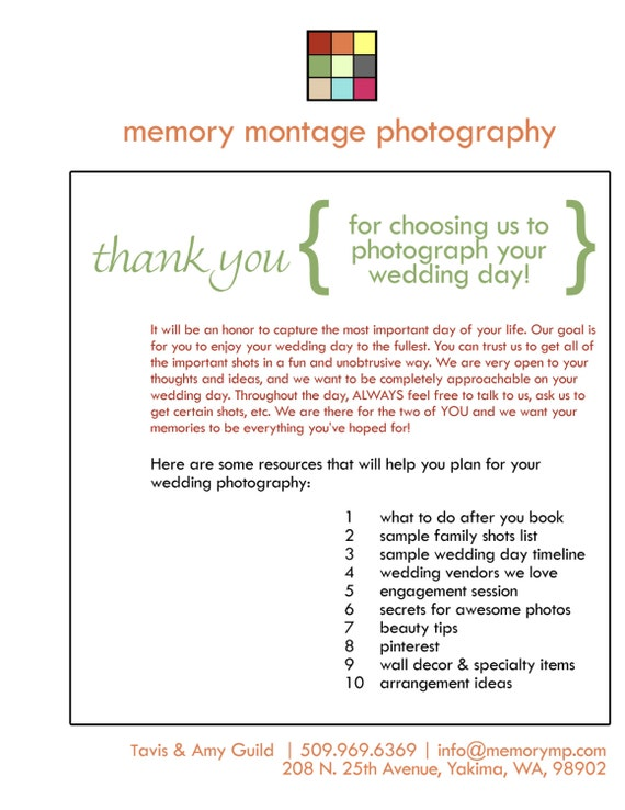 Wedding photography welcome packet business form for junglespirit Image collections