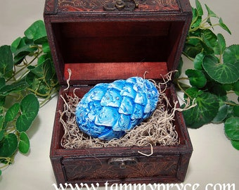 Blue Hand Sculpted Game Of Thrones Inspired, fantasy, Small Dragon Egg With Chest and Genuine Swavorski Crystals, Home Decor