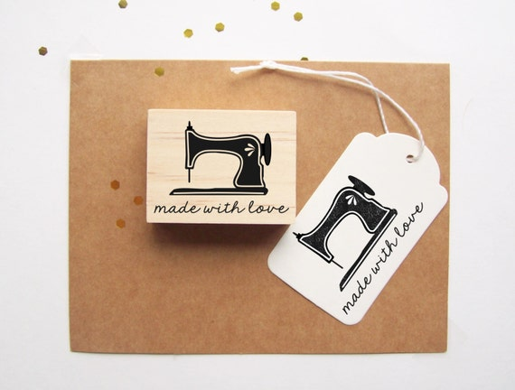 Vintage Sewing Machine Rubber Stamp, Made with Love