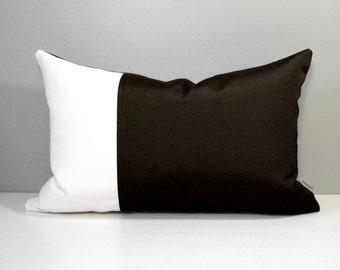 Dark Brown & White Outdoor Pillow Cover, Decorative Pillow Cover, Modern Color Block Pillow Cover, Walnut Sunbrella Cushion Cover, Mazizmuse