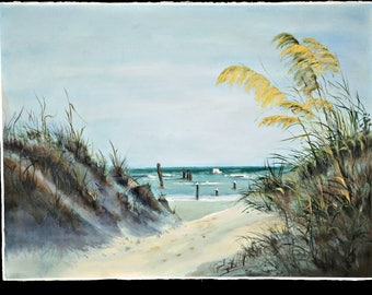 WATERCOLOR PAINTING - sea oats- oracoke beach - sand dunes - - outer banks