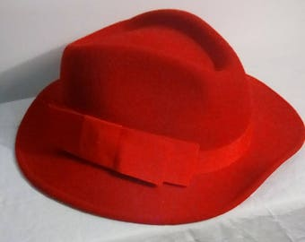 George W Bollman Red Fedora Hat