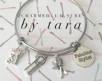 Fabulous hairstylist stainless steel bangle charm bracelet.