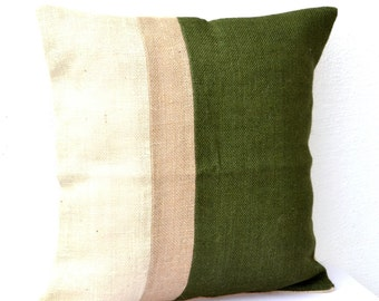 Green Pillow, Burlap Pillow color block, Green Decorative cushion covers, Throw pillows, Gift, All Sizes, Green Euro Sham  Couch pillow