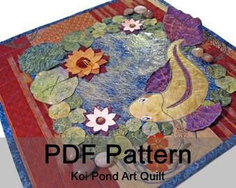 Koi Pond Embellished Art Quilt - PDF Sewing Pattern - Instant Download