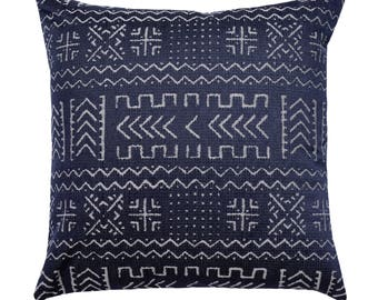 Mudcloth Style Pillow Cover, African Print Cushion Cover, Tribal Pillow, Blue Gray Accent Pillow, Mazinda Tribal Jacquard Navy Pillow Cover