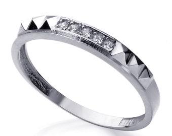 Men 14K White Gold CZ Five Stone Wedding Band Ring / Free Gift Box(ATR295WW)