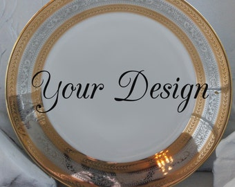 Customizable Plates Silver and Gold Dinnerware Customizable Dishes Personalized Plates Personalized Dishes Bespoke Plates Wedding & Gold Deer / Reindeer Plates Dinnerware Dishes Customized