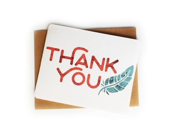 Feather Thank You Card, you're the best card, bright modern thanks card, best friend card, rustic thank you lots card for friend, teal red