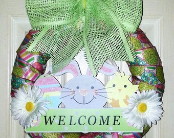 Sale, Easter Bunny Wreath, Spring wreath, Welcome Spring wreath, Easter Wreath, Spring wreath front door