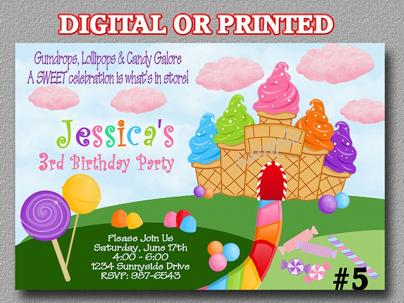 Candyland invitation YOU Print Digital File or PRINTED