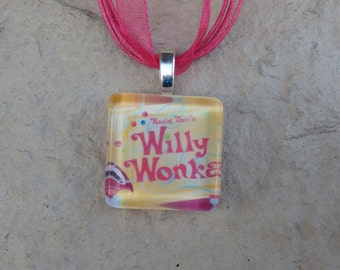 Broadway Musical Willy Wonka Glass Pendant and Ribbon Necklace