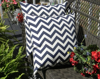 "Set of 2 - 17"" Navy / Dark Blue Chevron / Zig Zag Indoor / Outdoor Decorative Throw Pillows"