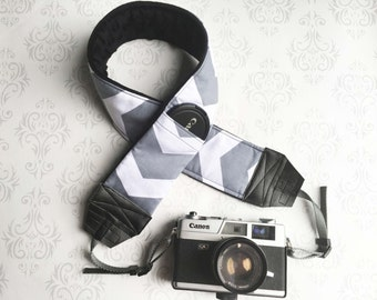DSLR Minky Camera Strap, Padded with Lens Cap Pocket, Nikon, Canon, DSLR Photography, Photographer Gift,  - Gray Chevron and Black