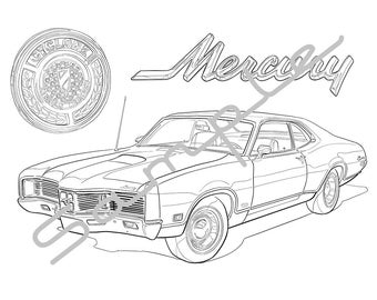 1970 MERCURY CYCLONE GT, Adult Coloring Page, Printable Coloring Page, Coloring Page for Adults, Digital Instant Download 1 page