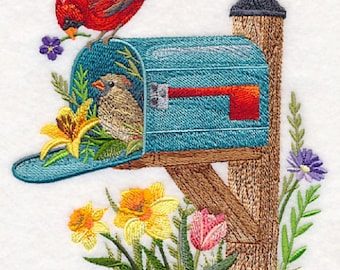Songs of Spring Mailbox Embroidered Flour Sack Towel, Songs of Spring Mailbox Towel, Birds and Mailbox Towel, Spring Scene Towel