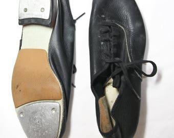 VTG TAP SHOES ϟ Black Leather Vintage Dance Lace Up Shoe