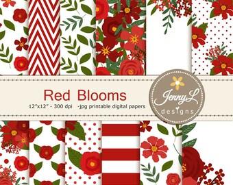 Red Floral digital paper, Wedding Flower Paper Digital scrapbooking, invitations, birthday, wedding, Planners, Baptismal