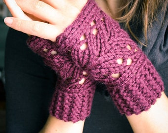 KNITTING PATTERN PDF File - Lacefield Knit Fingerless Mitts
