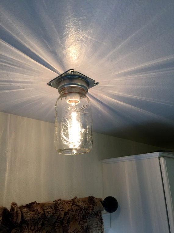 Industrial mason jar flush ceiling light rustic lighting aloadofball Image collections
