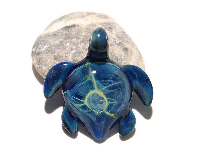 Glass Turtle - Baby Blue Universe Turtle Pendant - Glass Pendant - Glass Jewelry - Blown Glass Focal Bead - Artist Signed - Silver Fume Work