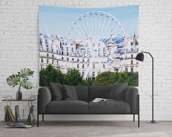Paris Ferris Wheel w the Tuileries Garden and Haussman Backdrop - 68x80 Tapestry  - Children's Room - Baby Nursery - Wall Art - Travel Photo