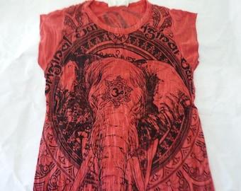 India elephant shirt Hindu om print short sleeve wrinkled t shirt XS S M red olive green purple tee cotton shirt women clothes