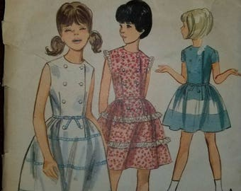 Vintage rare Butterick girls sz 12 fitted bodice, flared skirt dress pattern 3848