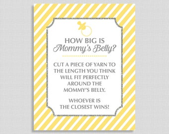 How Big is Mommy's Belly Sign, Yellow Stripe Baby Shower Game Sign, Gender Neutral, INSTANT PRINTABLE