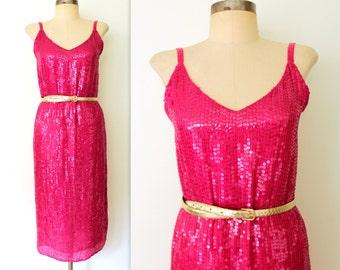 Sequin Dress / Silk Sequined Dress / SLINKY PINK Party Dress