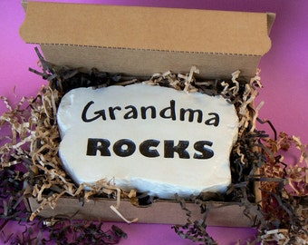 Grandma Rocks - Engraved in Stone,  Great for Mother's Day.  Mom Rocks! w/ Gift Box! by RocksOnly