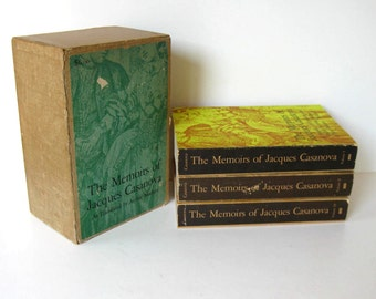 "Vintage 3 volume set of ""The Memoirs of Jacques Casanova"", de Seingalt, boxed set, ilustrated, circa 1965,  library decor, gift idea"