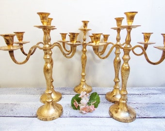 5  Wedding Candelabras 3 arm Shabby Candle Holder Antique Gold Distressed