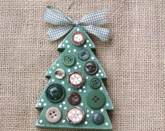 Wood Button Tree, Wooden Ornament, Woodland Ornament, Christmas Tree, Rustic Decor, Lodge Ornament, Cabin Ornament, Natural, Nature Inspired