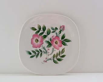 "Rörstrand ""Flora. Dog Roses""  Wall Plate Designed by Lars Thorén. Vintage Scandinavian / Swedish / Sweden / Mid Century / Retro"