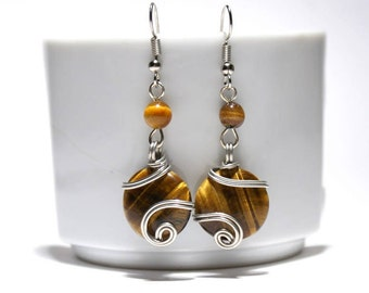 Wire Wrapped Tigers Eye Earrings, Wire Wrapped Earrings, Silver Earrings, Handmade Jewelry, Christmas gift, Lovely gift