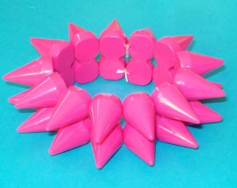 Pink Spiked Double Row Punk Bracelet