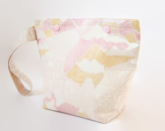 Small Knitting Bag, Sock Project Bag With Handle, One Skein Yarn Bag with Snaps, Zipperless Project Bag - Pastel Pink Mountains
