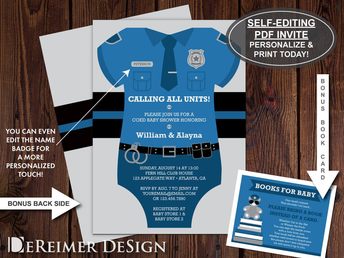 Police baby shower invitation bodysuit invitation thin blue zoom filmwisefo