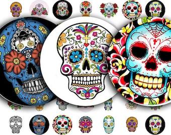 Day of the Dead collage sheet, or Dia de Los Muertos, Sugar Skull Tattoos in 16mm Circles, digital download no. 1000