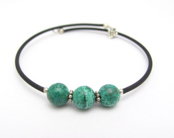 Chrysophrase Bracelet Sterling Silver, Memory Wrap Bracelet, Zen Bracelet, Memory Wire Bracelet, Friendship Bracelet, Minimal Modern Jewelry