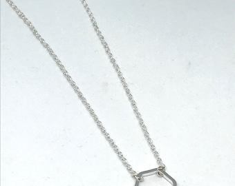 Dainty Minimalist Silver Hexagon Geometric Pendant Necklace Chain