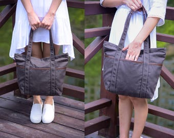 waxed canvas tote,Grey Tote,Canvas Diaper Bag,waxed canvas  Diaper Bag