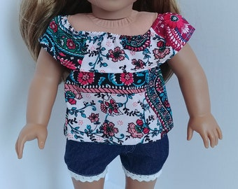 Doll shirt. 18 inch doll clothing. Fits like American girl .18 inch doll clothes.  Floral print shirt and shorts