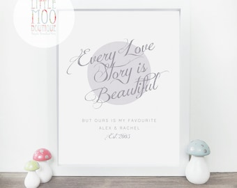 Every Love Story is Beautiful - Gift for Girlfriend - Romantic Home Decor - Wedding Gift - Anniversary Gift - Wife Gift - Sentimental Gift