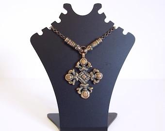 Sigmund Espeland Norway Bronze Necklace// Pendant Cross Wolves Viking Era Repro Bronze