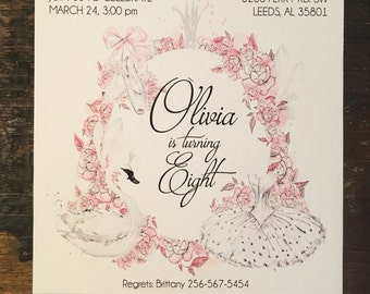 Swan Princess Birthday Invitation
