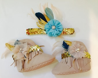 Boho Wild One moccasins boots and matching headband or hair clip