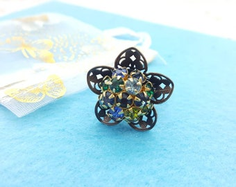 Old Gold Victorian Style Ring with Colorful rhinestones Adjustable size
