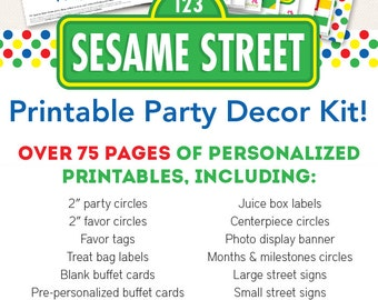 Sesame Street Birthday Party Printable Decor Kit - Over 75 pages of fun designs!